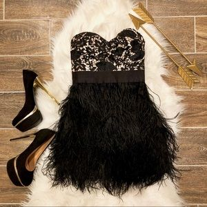 Bebe ADORABLE Feather Dress